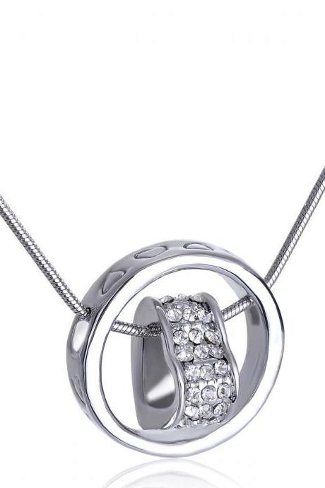 Heart Pendant Necklace- Heart Enclosed Necklace-Heart Jewelry for Women-Crystal Heart Pendant